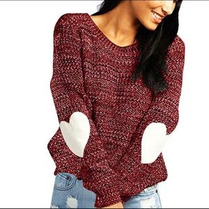 Sweaters - Knit sweater elbow heart patch